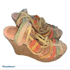 Jeffrey Campbell Multi Color Canvas Wedge Samdals
